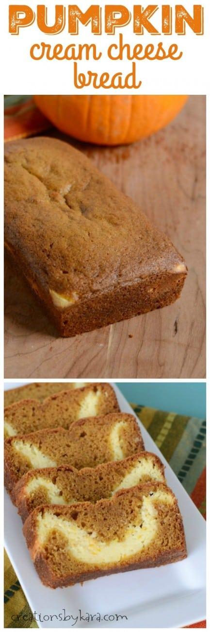 Recipe for Pumpkin Cream Cheese Bread- the cream cheese filling in the middle is heavenly!