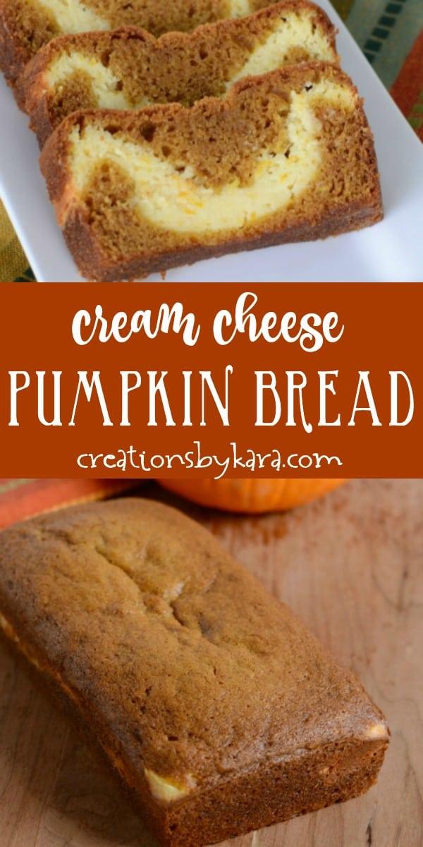 cream cheese pumpkin bread recipe collage