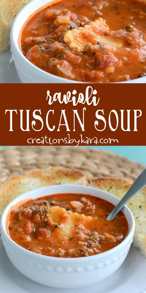 ravioli tuscan soup recipe collage