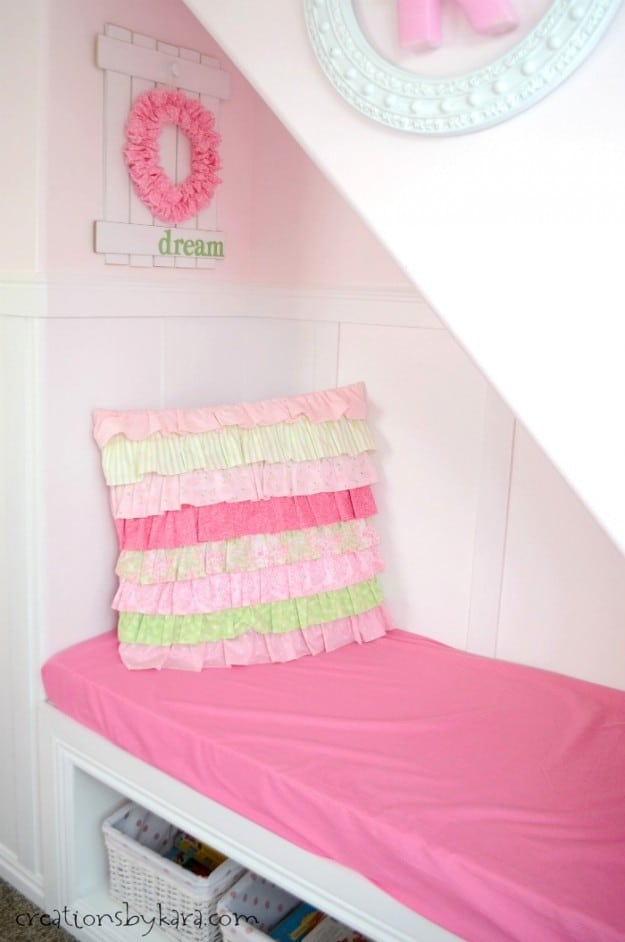Ruffled pillow for reading nook