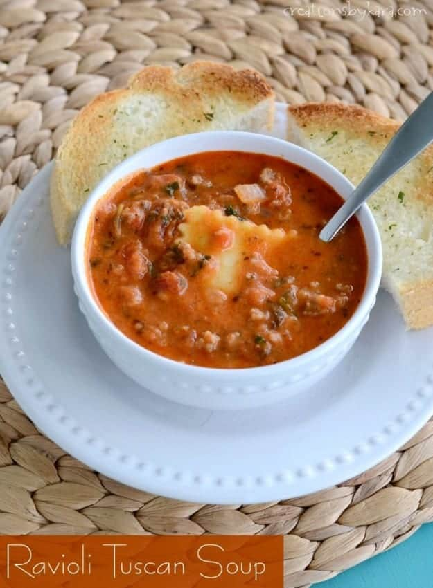 Recipe for hearty and delicious Ravioli Tuscan Soup. Easy and delicious!