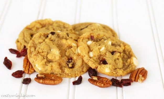 Recipe for chewy Pumpkin Cookies with craisins and white chocolate