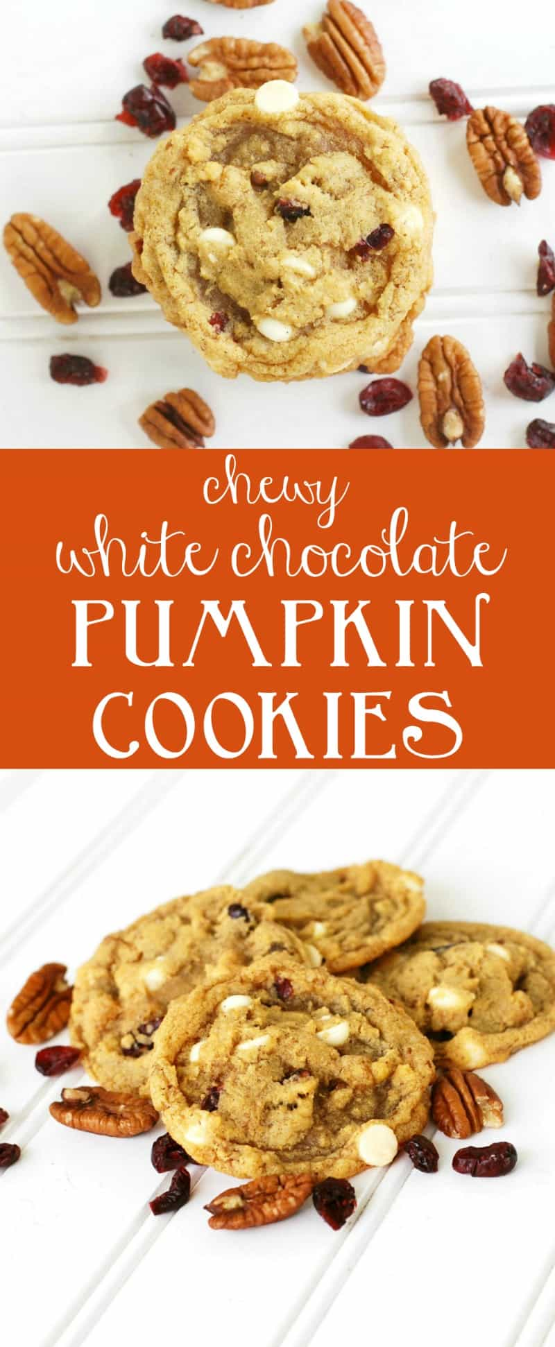 Chewy white chocolate pumpkin cookies with pecans and cranberries. A perfect non-cakey pumpkin cookie recipe. A must make for fall!