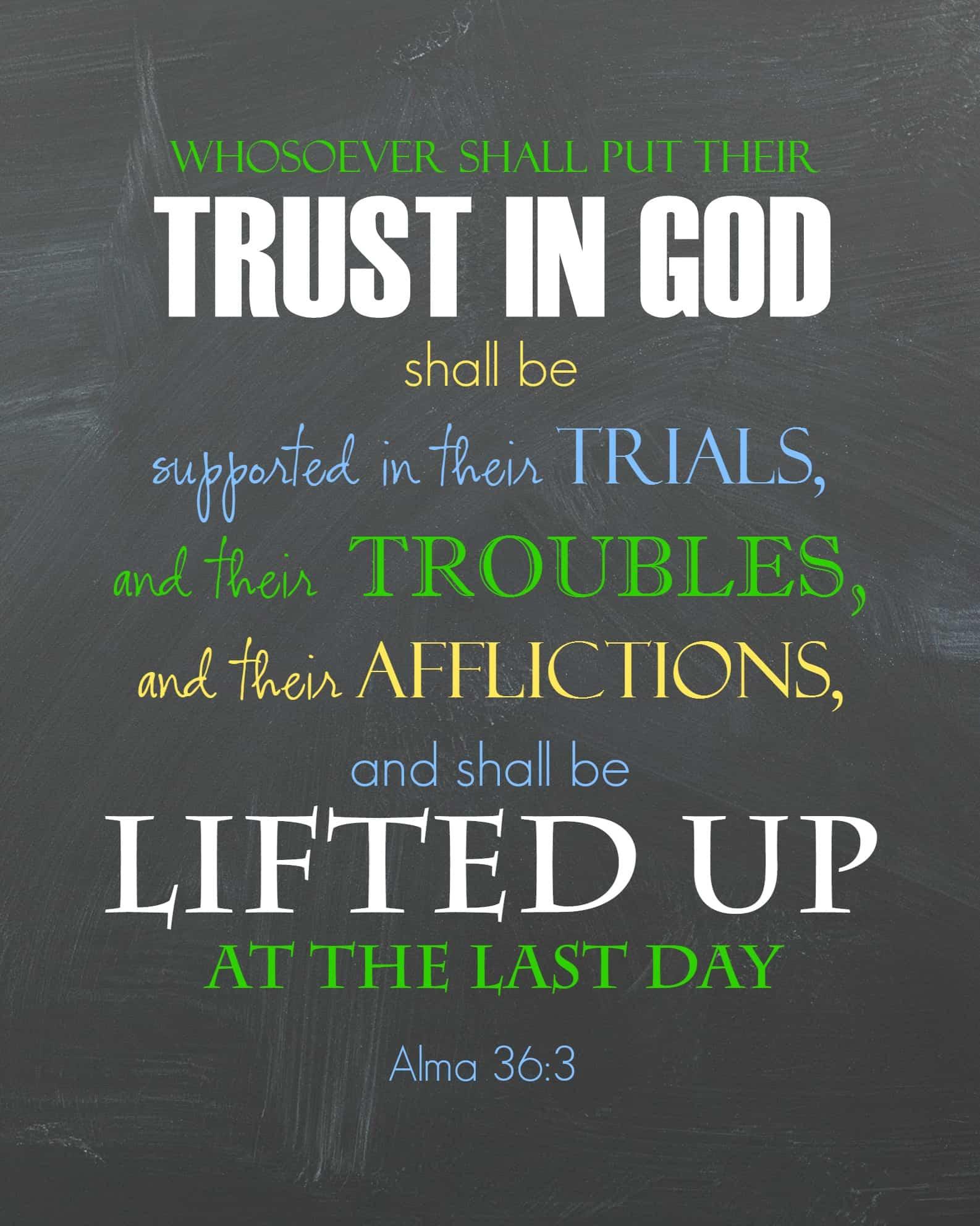 Ponderize scripture printable- Trust in god
