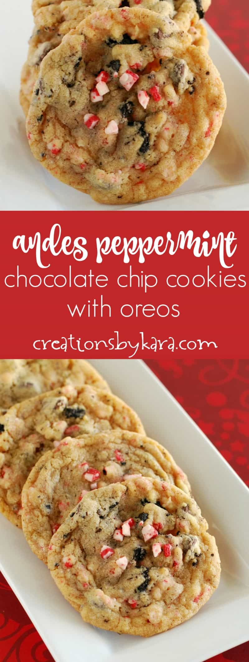 Filled with Oreo pieces, Andes peppermint bits, and chocolate chips, these Peppermint Oreo Cookies will delight all chocolate mint lovers, and are just perfect for Christmas!