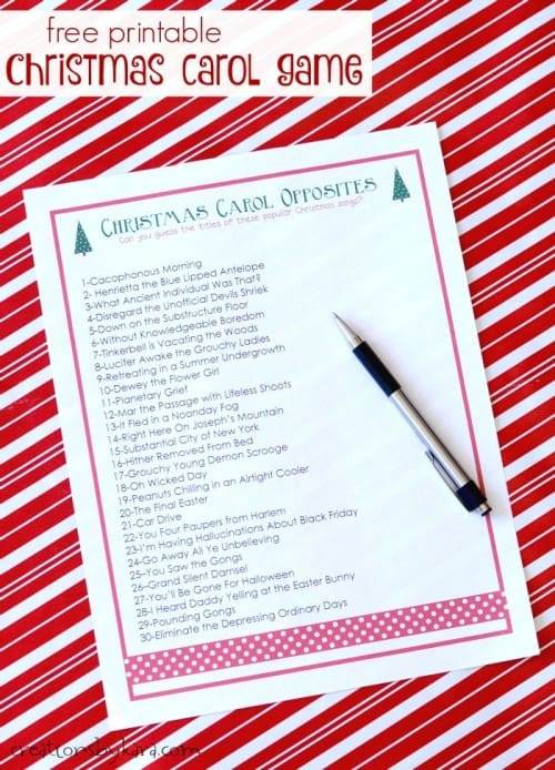 Free Christmas Carol Game- great for Christmas parties of any size!