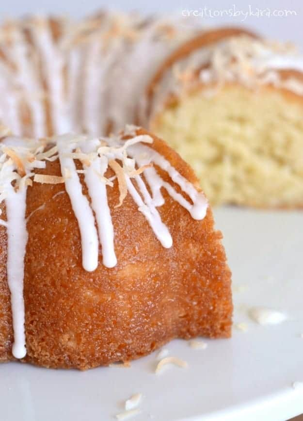 close up of sliced sour cream coconut bundt cake