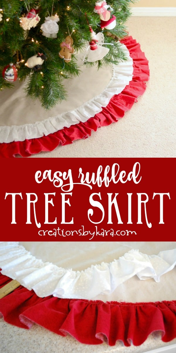 ruffled farmhouse tree skirt tutorial collage