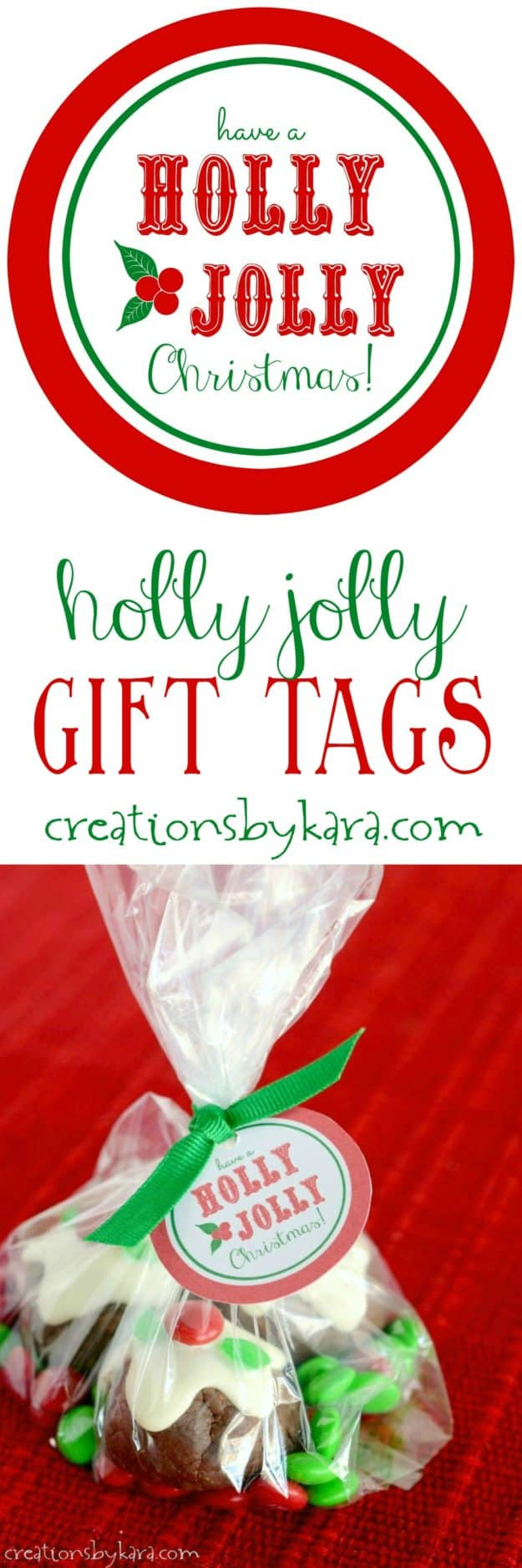 Free printable Holly Jolly gift tags. Perfect for wrapping Christmas gifts, or attaching to bags of goodies! ~from creationsbykara.com