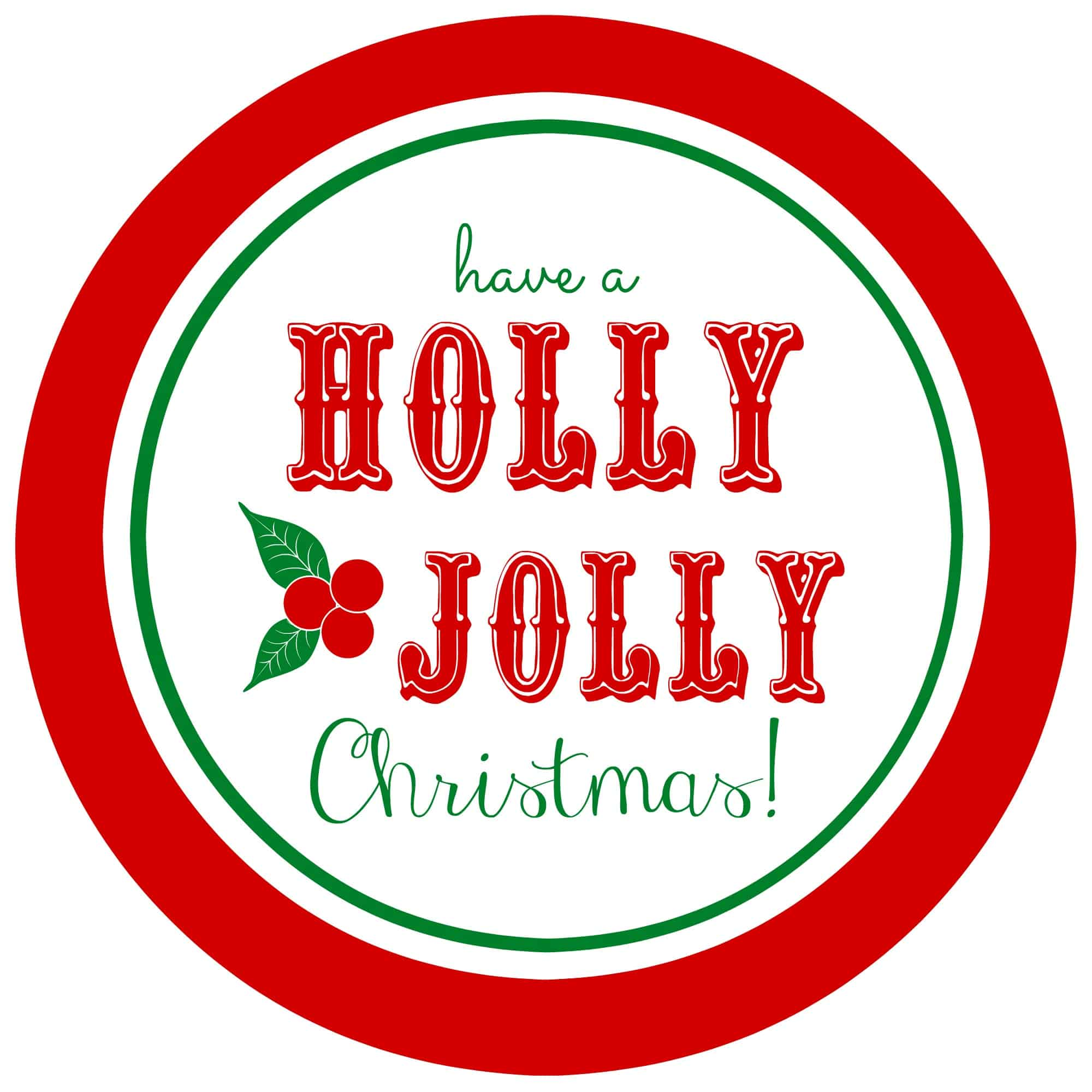 Free printable Holly Jolly gift tags