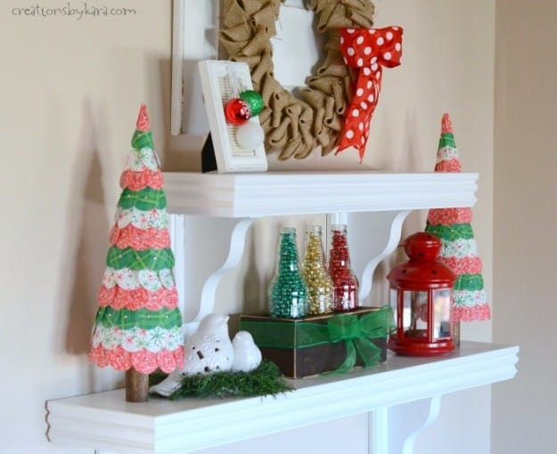 christmas shelves with paper trees