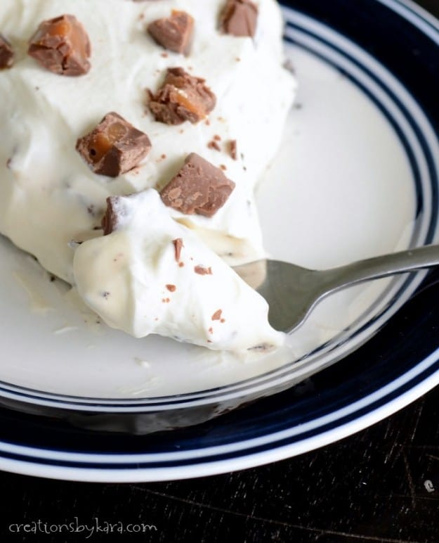 Creamy Rolo Pie- no bake and made with just five ingredients!