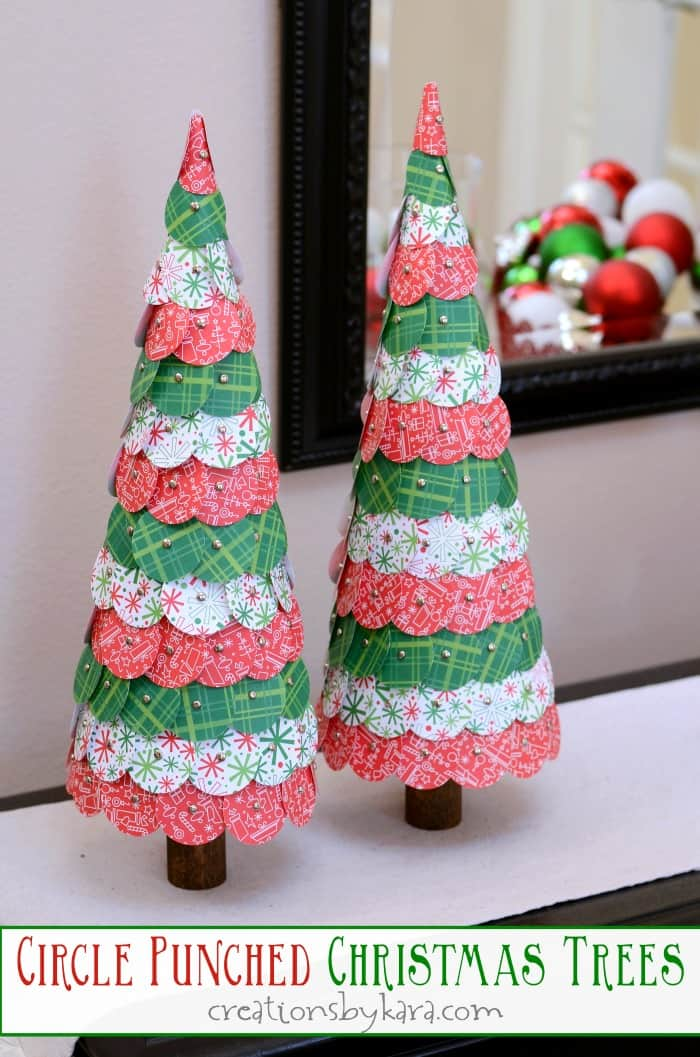 Circle Punched Paper Christmas Trees Tutorial