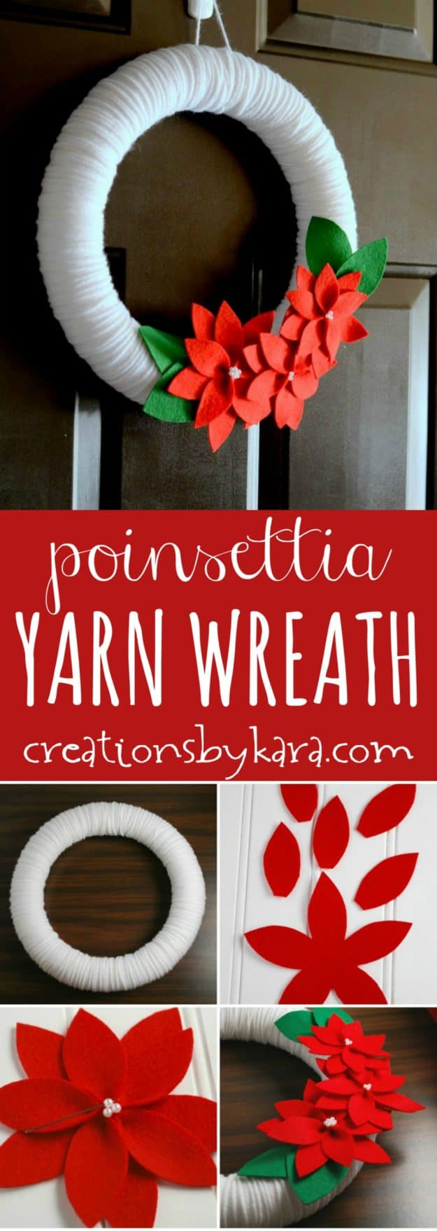 Poinsettia Yarn Christmas Wreath tutorial - a beautiful Christmas wreath for your door or walls!