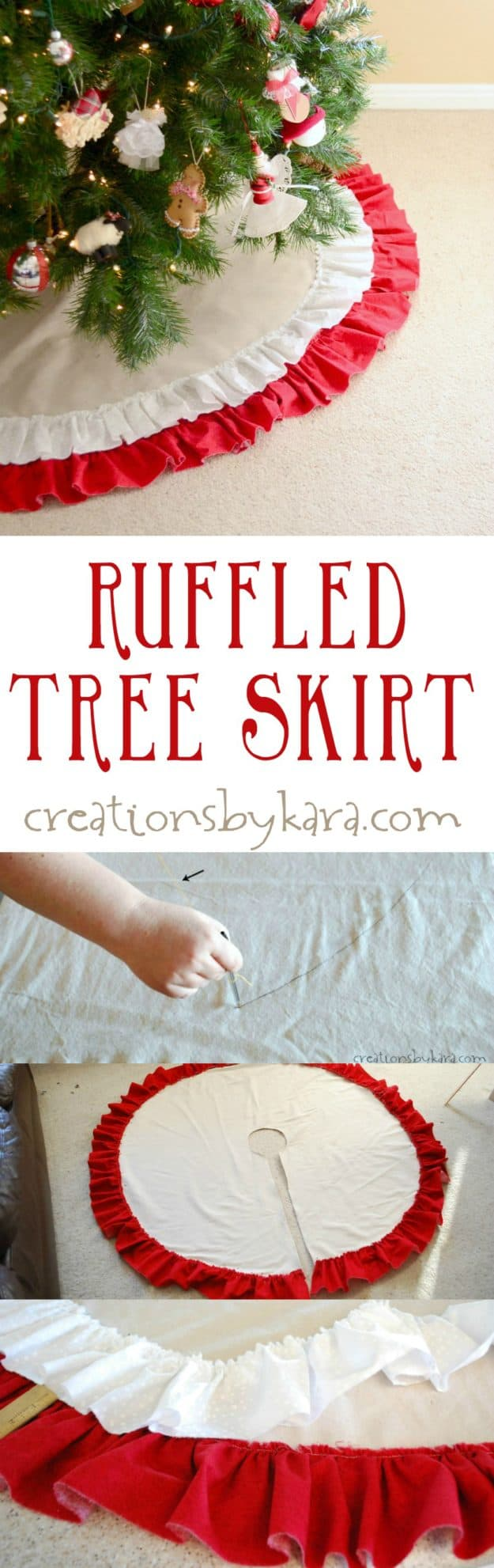 Step by step instructions for making a ruffled tree skirt. It looks just gorgeous under the Christmas tree!