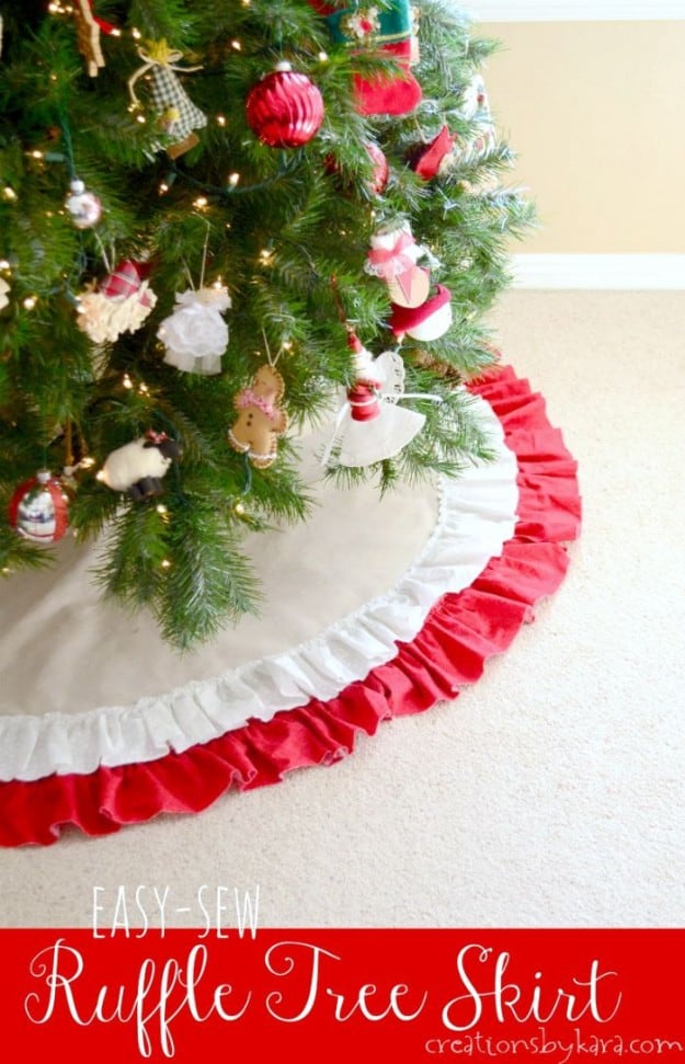 Easy To Sew Ruffled Christmas Tree Skirt