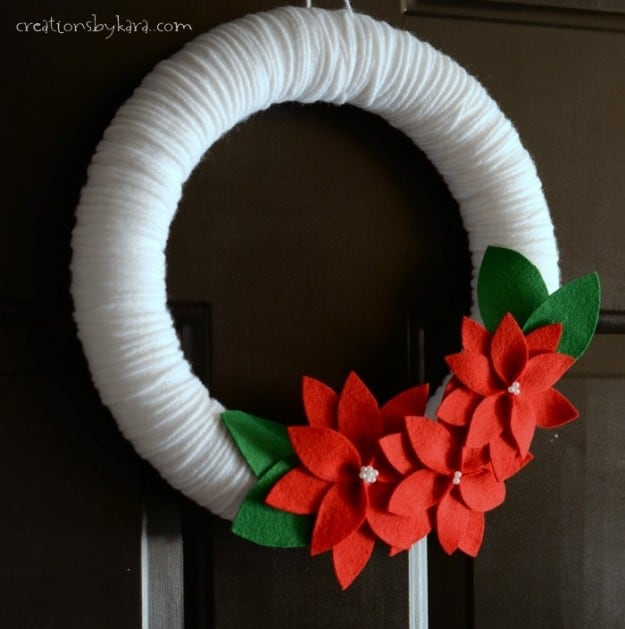 Pattern for felt poinsettias, and instructions for using them to make this yarn Christmas wreath.