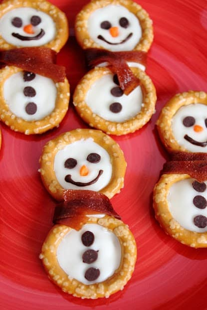 pretzel snowmen