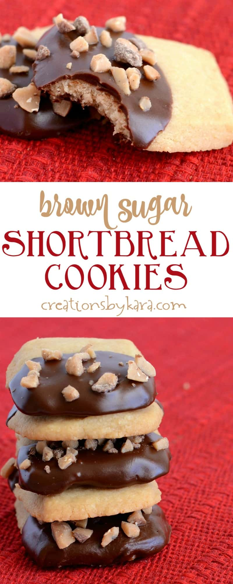 Brown Sugar Shortbread Cookies dipped in chocolate and sprinkled with toffee. A perfect cookie recipe.