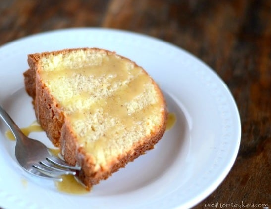 This Caramel Eggnog Sauce goes perfectly with eggnog cake, pound cake, or ice cream!