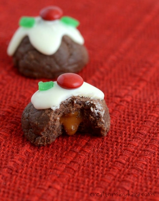 Caramel filled chocolate bon bon cookies- a decadent treat that is easy to make!