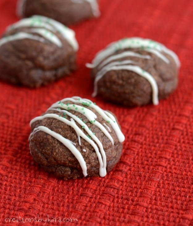 These pretty Bon Bon Cookies are perfect for Christmas, but you can omit the holly berries and serve them any time of year. They are decadent and delicious!