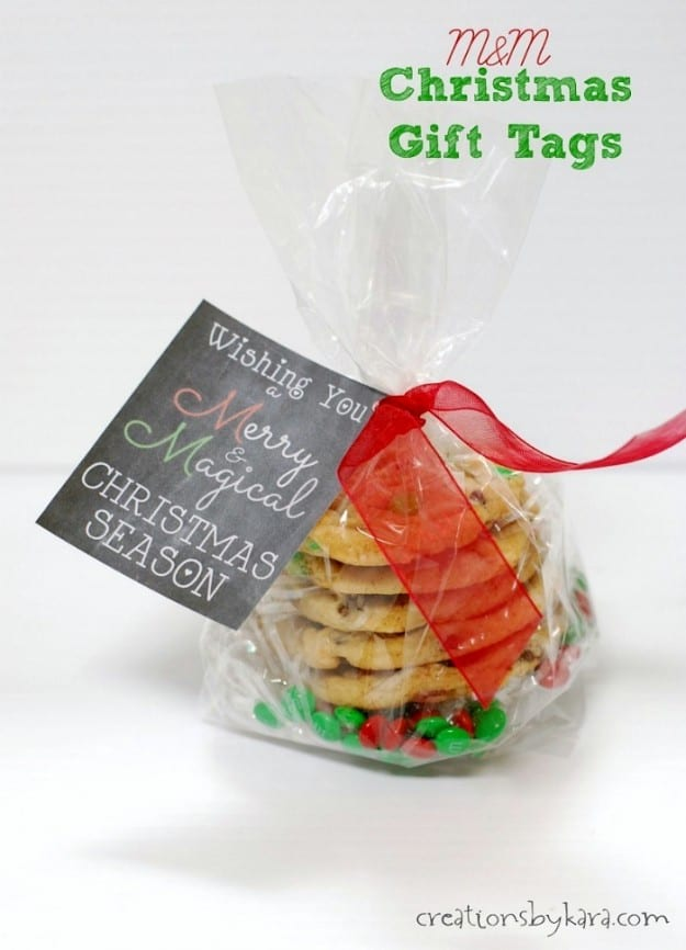 M&M chalkboard Christmas gift tags