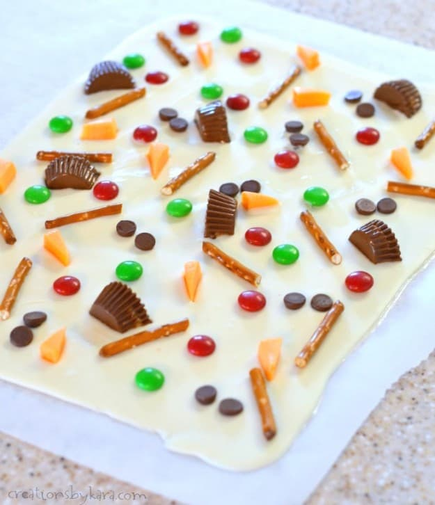 sheet of white chocolate bark.