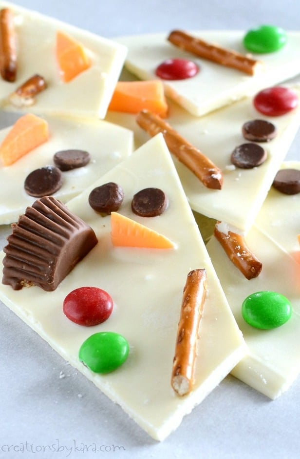 close up of white chocolate snowman bark