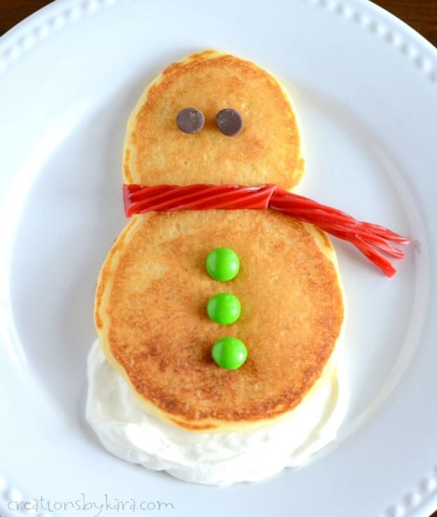 These snowman pancakes are a fun Christmas tradition that the whole family will love!