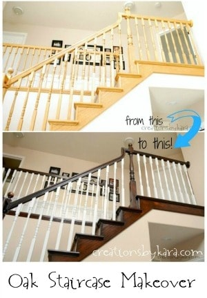 DIY Stained Oak Banister