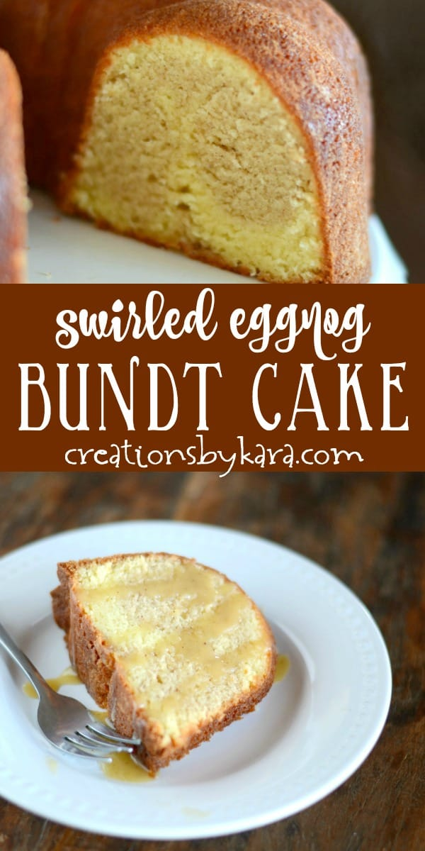 swirled eggnog bundt cake recipe collage