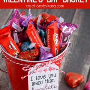 valentine gift basket with chocolate