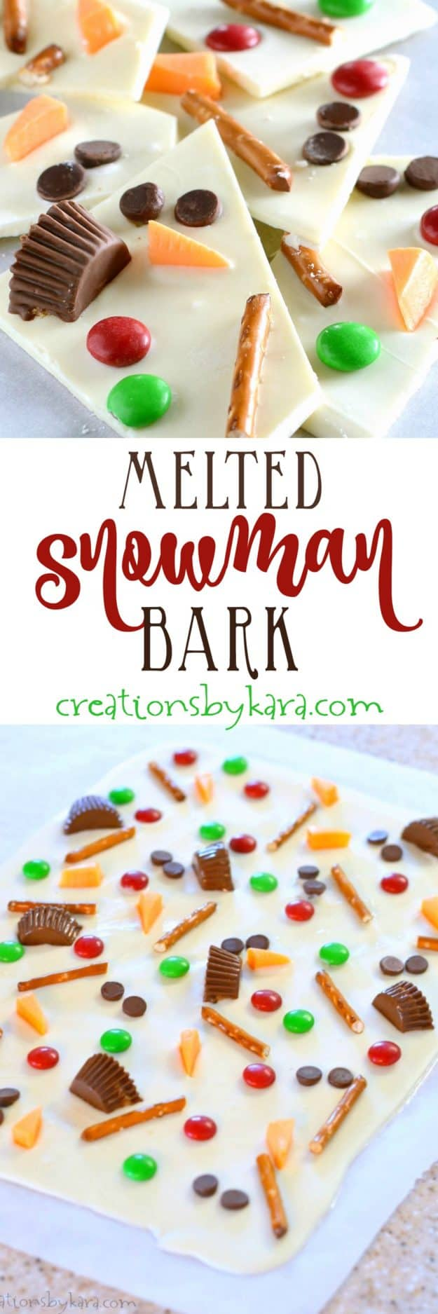How to make cute, fun, and tasty Melted Snowman Bark. A perfect winter and Christmas treat!
