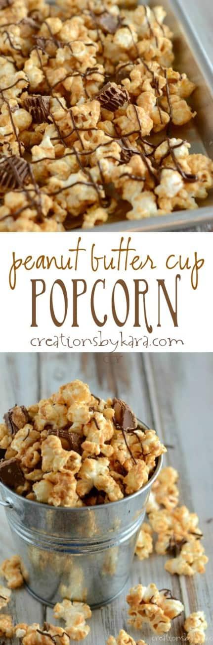 peanut butter cup popcorn recipe collage