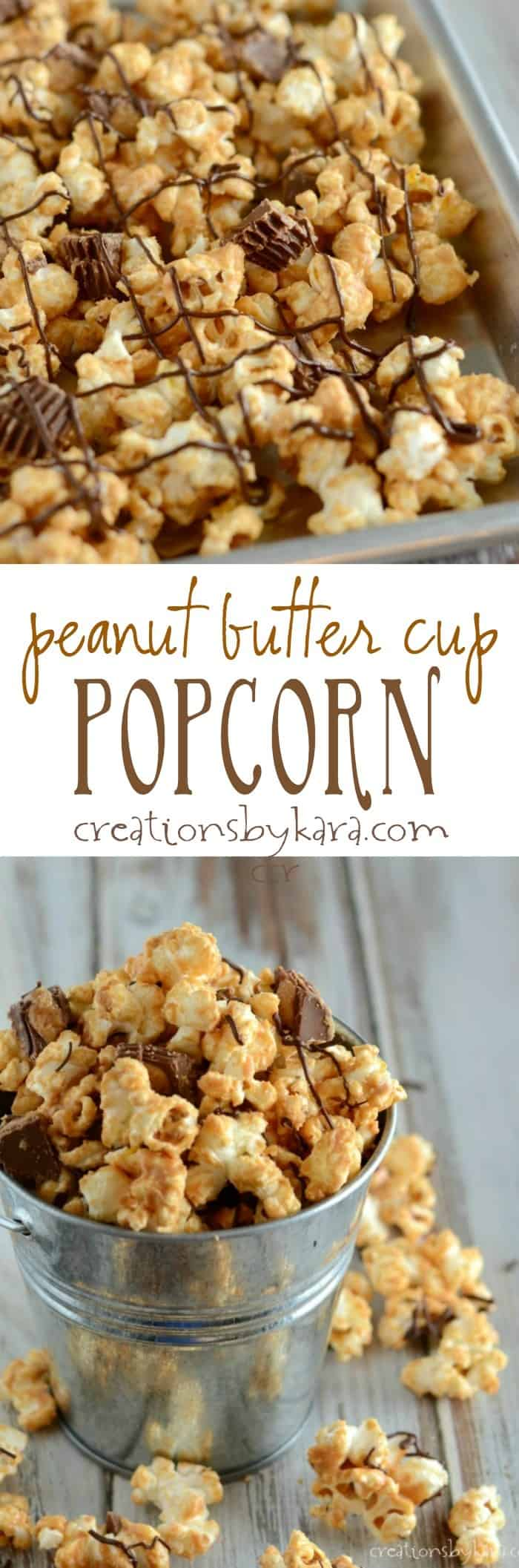 This peanut butter cup popcorn is an easy and tasty snack!