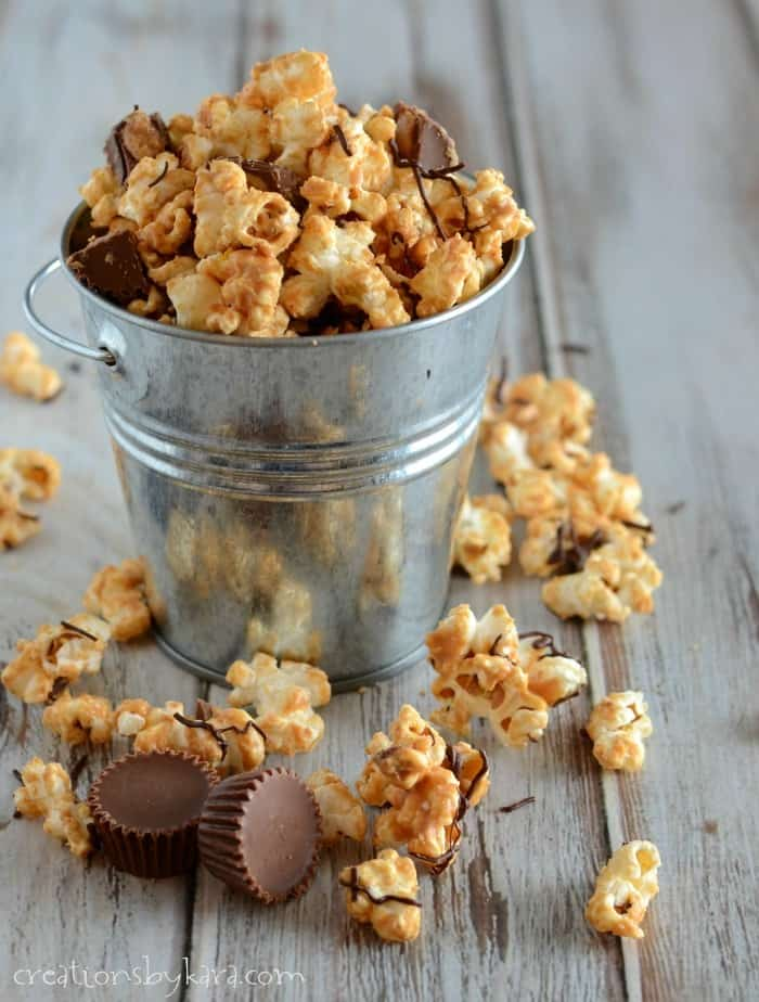 5 ingredient Peanut Butter Cup Popcorn- so addicting!