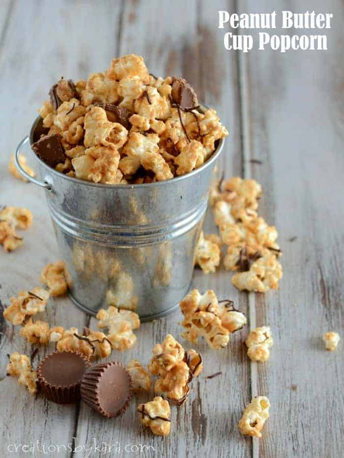 Peanut Butter Cup Popcorn — Reese's peanut butter cups added to ...