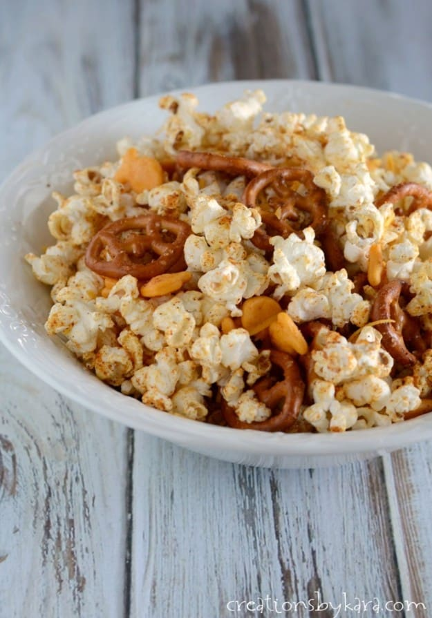 bowl of taco snack mix with popcorn