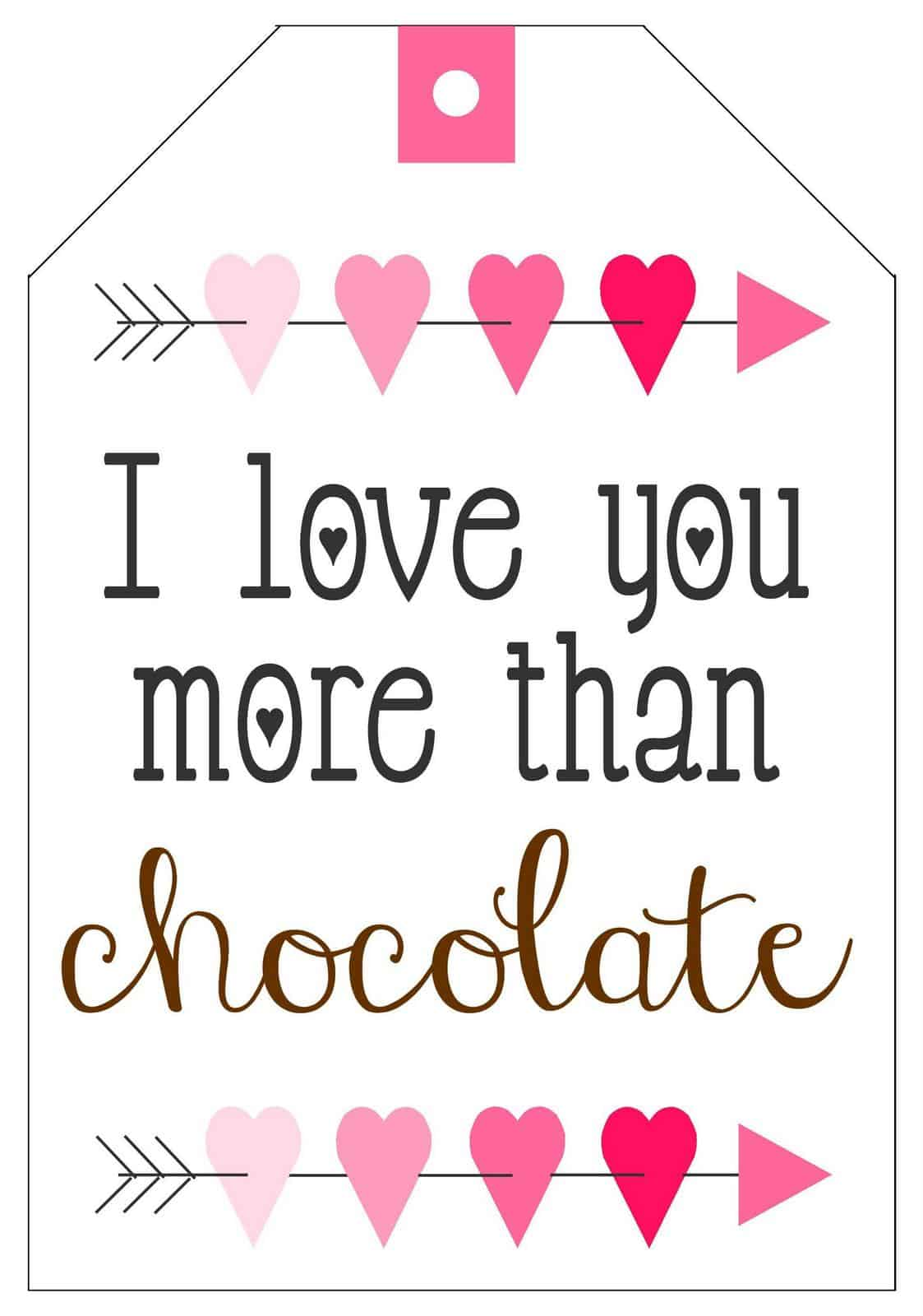 Free printable chocolate Valentines Day gift tags
