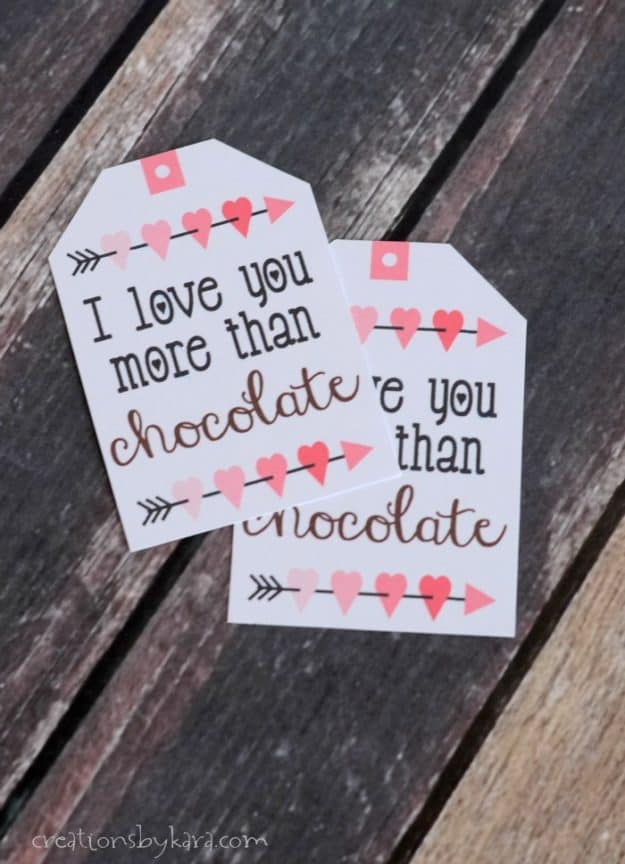 Chocolate Lover's Valentine's Day Gift Baskets with free printable tag