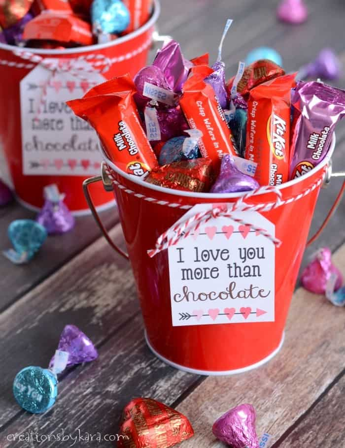 bucket of chocolate with gift tag