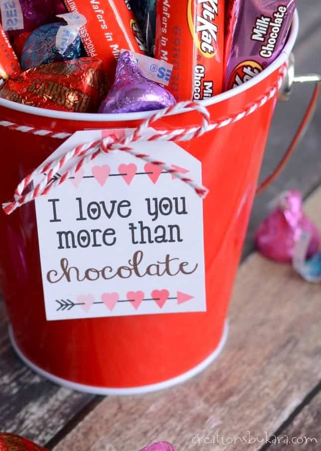 I love you more than chocolate valentine gift tag attached to bucket of chocolate