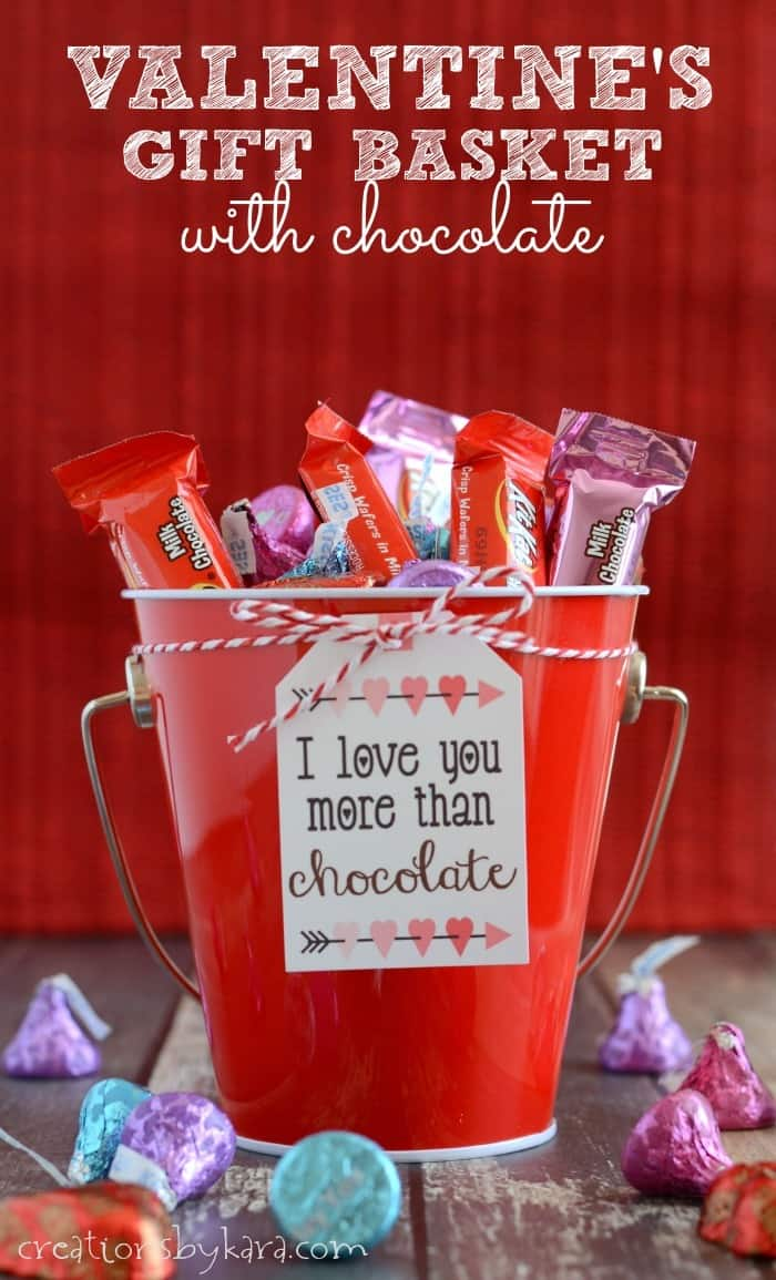 Valentines Day basket with chocolate gift tag