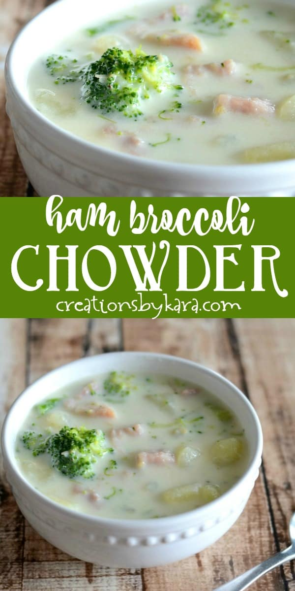 broccoli ham soup recipe collage