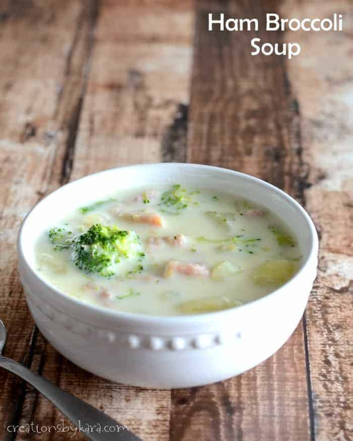 With ham, broccoli, potatoes, and swiss cheese, this Ham Potato Chowder is a delicious soup!
