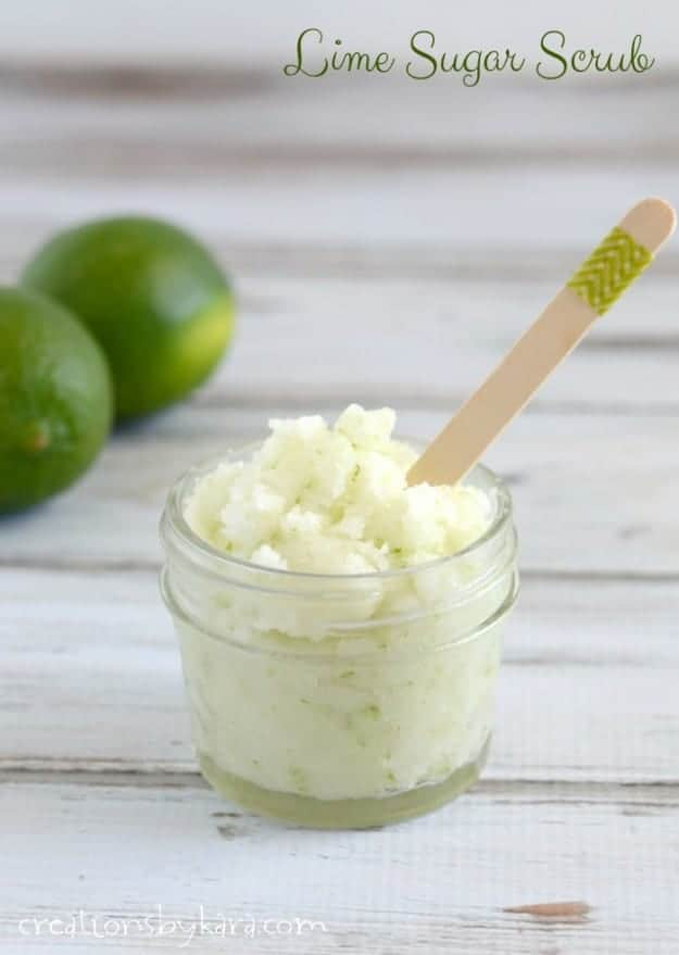 Get rid of dry itchy skin with this fabulous Lime Sugar Scrub. It smells amazing too! Makes a great gift- free tag included.