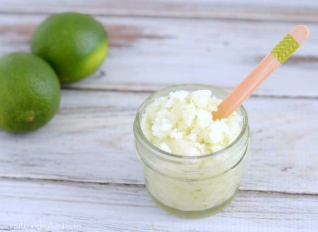 Recipe for homemade Sugar Scrub with coconut oil and lime