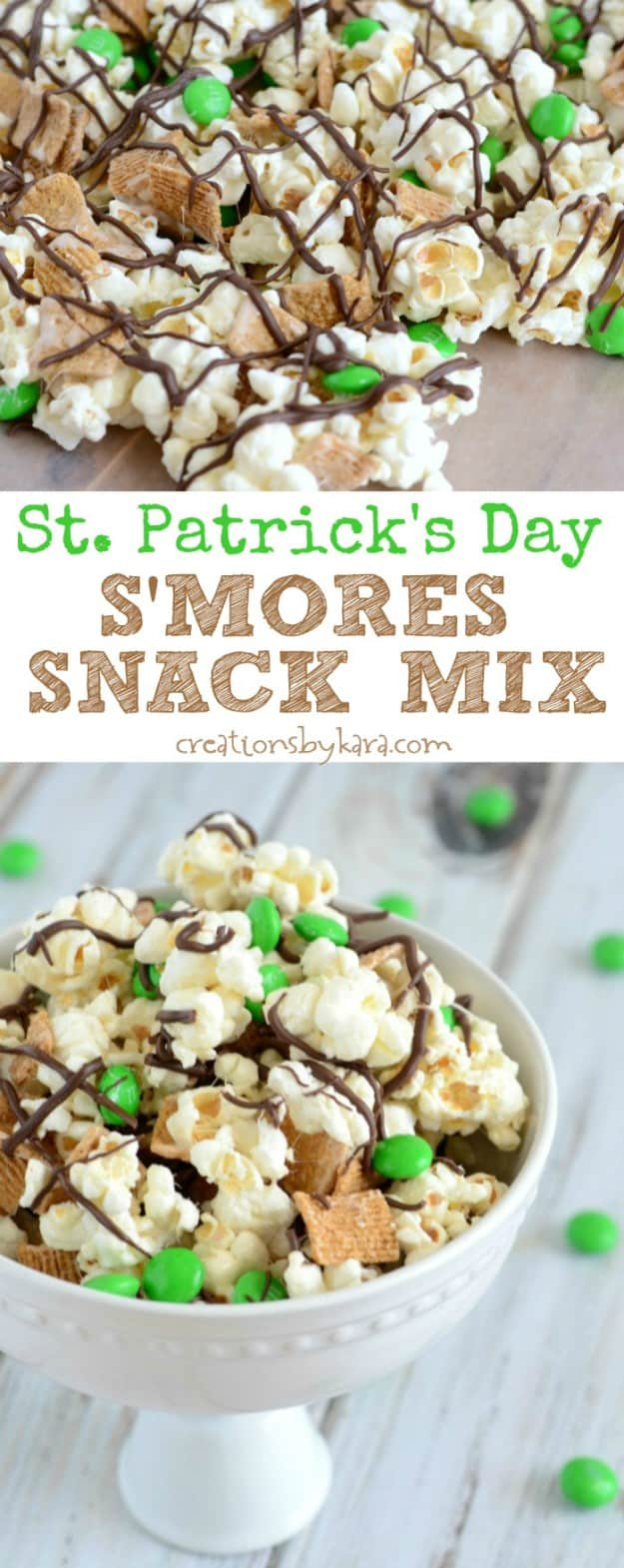 St. Patricks Day S'more Snack Mix recipe collage