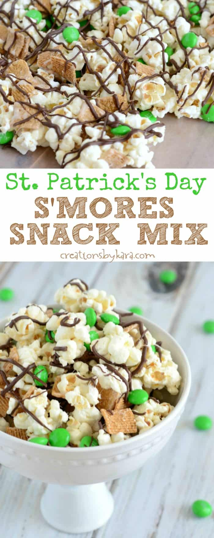 Recipe for fun and yummy St. Patricks Day S'more Snack Mix  - A perfect St. Patricks Day recipe